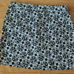 Floral print black and white A line skirt